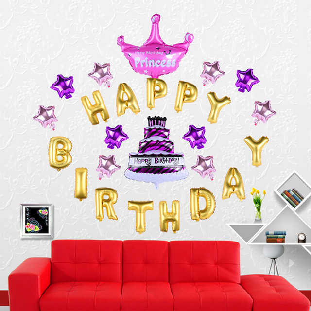 HAPPY BIRTHDAY balloon Set Letters + Cake + Star + Crown Foil balloon