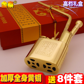 Chinese specialty Golden quality pure copper smoking pipe vintage old fashioned hookah hookah full set Chinese specialty фото