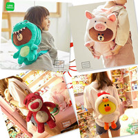 1PC 40cm cartoon bear become pig chicken dinosaur plush backpacks students outdoor shoulder bag Satchel girl toy gift of baby