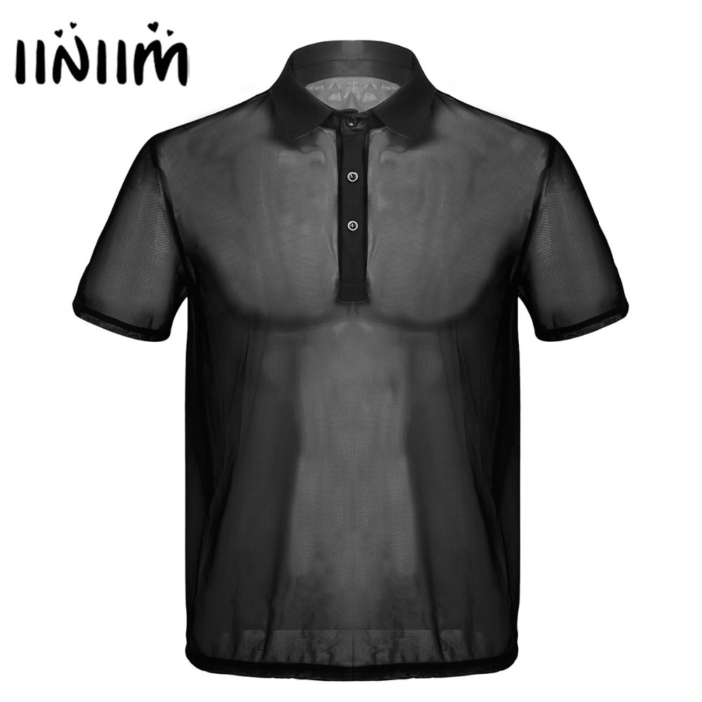 Mens Summer Fashion Short Sleeves Turn-down Collar Thin Mesh See-Through Wetlook Soft   T  -  Shirt   Tops for Evening Party Clubwear