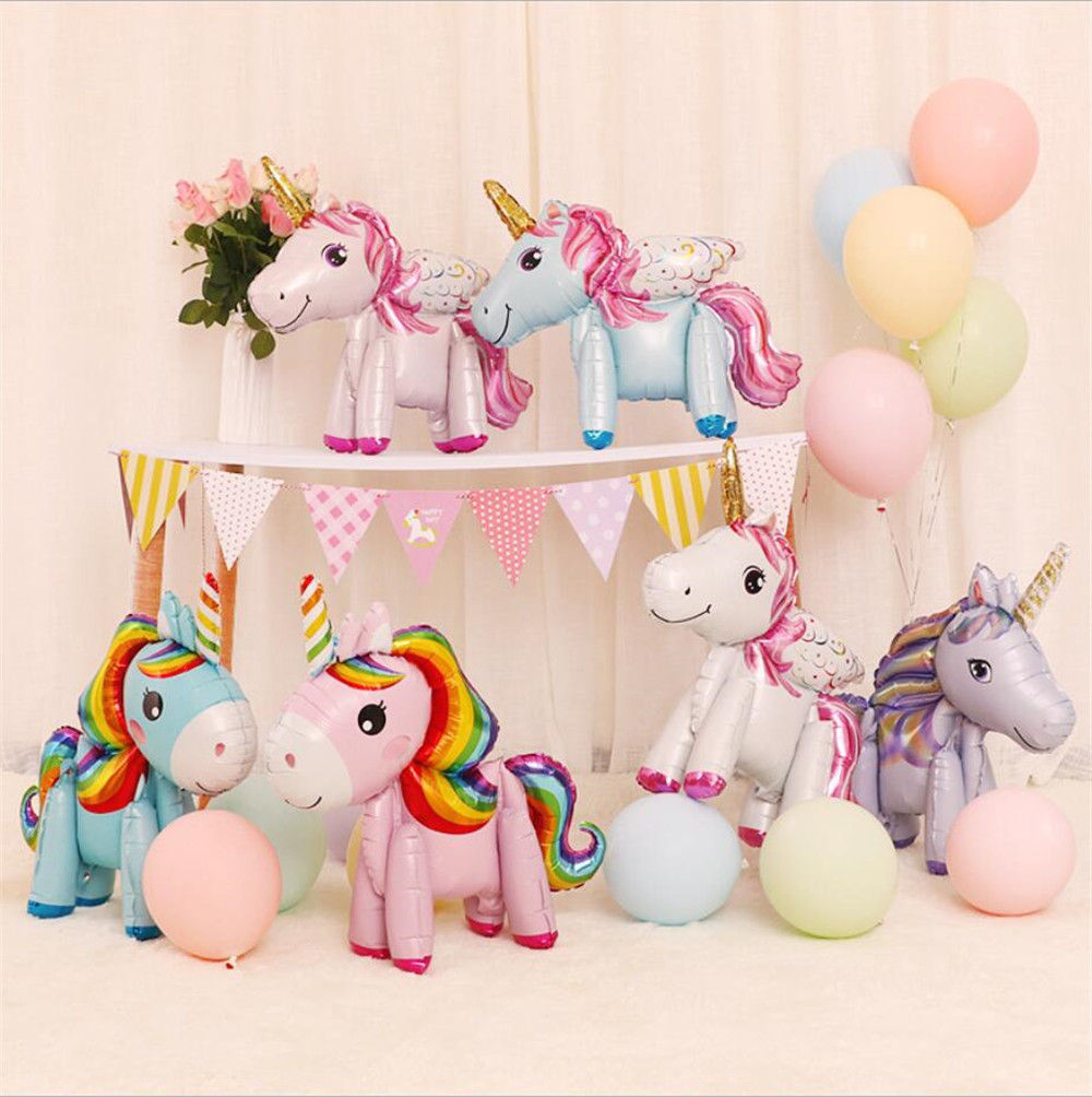 Unicorn Party Decorations Supplies Unicorn Walking Animal Foil Balloons Girls Birthday Theme Party  Decor Cartoon Hat