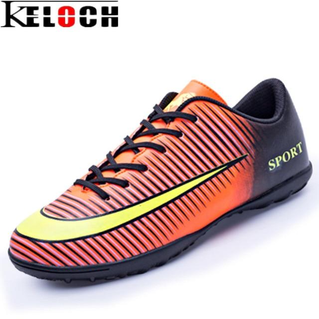 2efab4d22 Keloch 2017 أحدث الرجال أحذية كرة القدم في pu للماء الرياضة للأولاد المرابط  العشب الكاحل