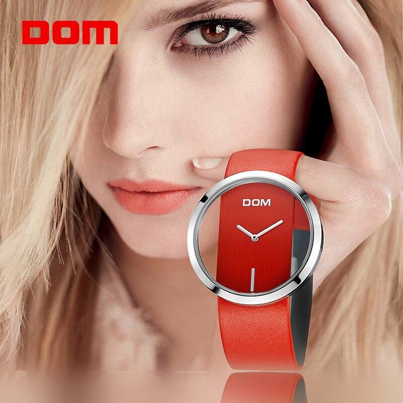 Женские часы DOM брендовые Роскошные модные повседневные уникальные женские наручные часы кожаные кварцевые водостойкие Стильные наручные ...