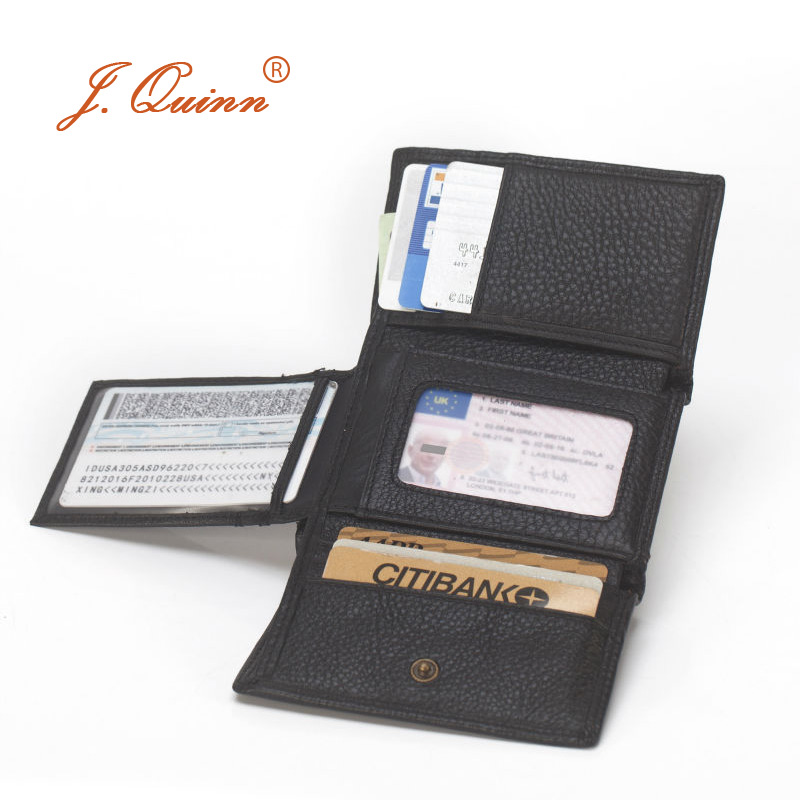 J.Quinn Men Hasp Trifold Mini Wallets with Flap Card ID 11 Card Holder Genuine Cow Leather Black Mens Short Wallet Small New
