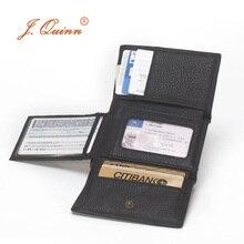 J. Quinn Männer Haspe Trifold Mini-Wallets mit Klappe Karte ID 11 Kartenhalter Vollrindleder Schwarz Herren Kurze Brieftasche Kleine Neue