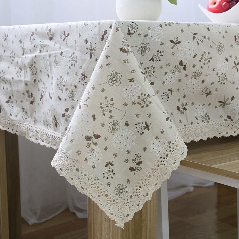 Order: 1 Piece. 2016 New Arrival Of Pastoral Cotton And Linen Tablecloth  Dandelion Printing Square Tablecloth Lace Edge Tablecloth