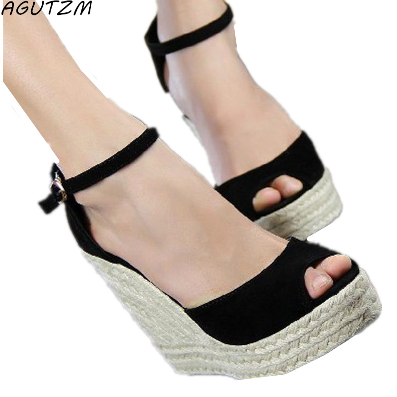 AGUTZM Women Wedge Sandals Summer Casual Shoes Woman Platform Wedges Gladiator High Heels Buckle Strap Sandalias Zapatos Mujer mabaiwan women shoes genuine leather summer sandals casual platform wedge shoes woman rivets gladiator wedges breathable sandal