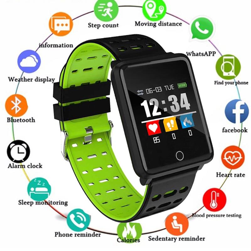 Men Women Smart Sport Watch 2019 Fitness Tracker Pedometer Blood Pressure Heart Rate Blood oxy Monitor Smart Band+Box PK Fitbits