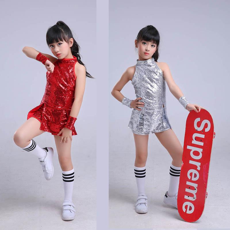 1c3af9b02 Kids Jazz Dance Costumes Tops Shorts Socks Set Sequin Hip Hop Street ...