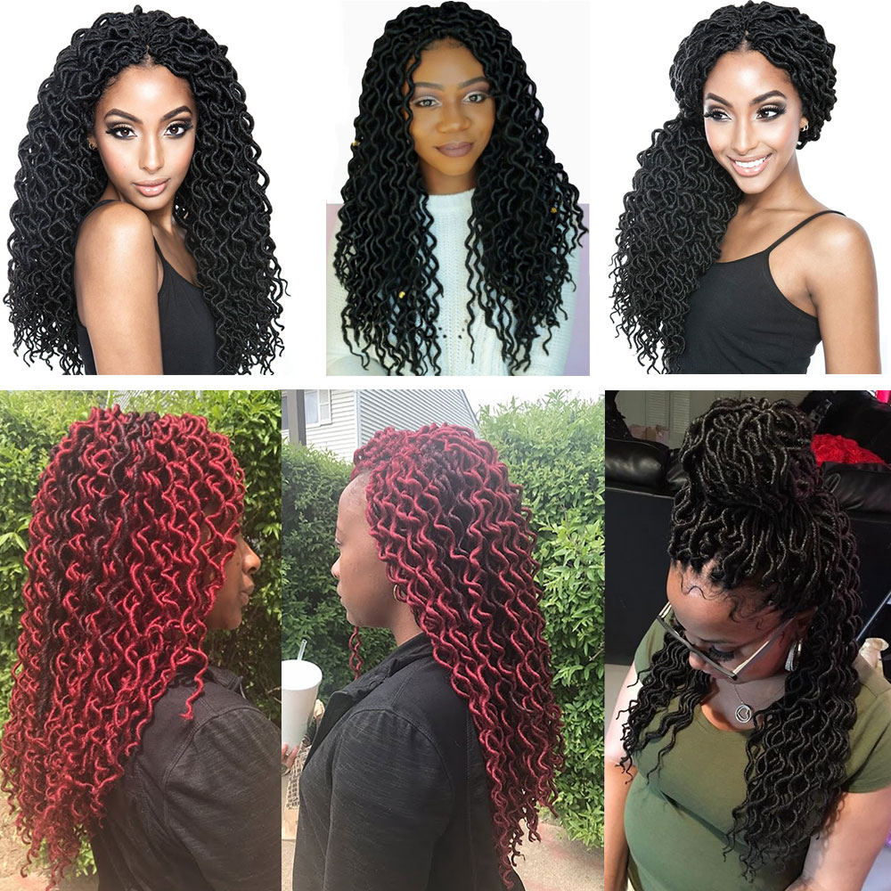 Saisity Curly Faux Locs Crochet Hair Jumbo Hair Extensions Synthetic