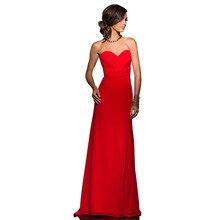 Red Long Bridesmaid Dresses Sweetheart Chiffon Pleats Back Zipper Floor Length Dress Vestido De Festa