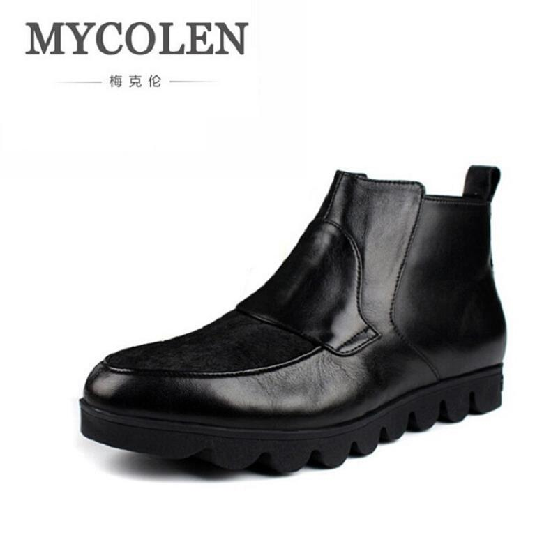 MYCOLEN Men Boots 2017 Winter Cow Leather Snow Boots British Fashion Men Shoes Men Footwear Thick Bottom Rubber Ankle Boot serene handmade winter warm socks boots fashion british style leather retro tooling ankle men shoes size38 44 snow male footwear