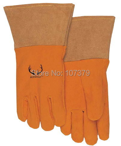 2 pairs  Split Deer Skin Leather Labor Glove TIG MIG Safety Glove Grain Deerskin Leather Driver Work Glove leather safety glove deluxe tig mig leather welding glove comfoflex leather driver work glove