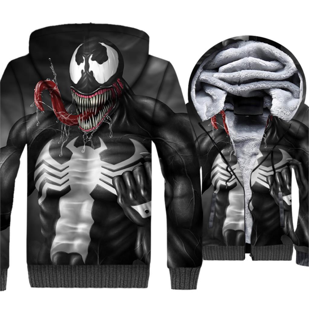 Venom 3D Print Hoodie Men Movie Super Hero Sweatshirt Harajuku Coat Hot Sale Winter Thick Fleece Warm Jacket Hip Hop Streetwear