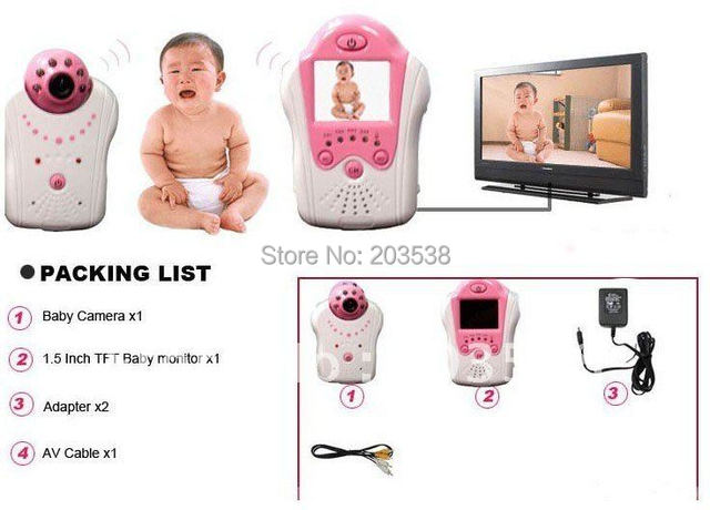 2.4GHZ Wireless Camera Voice Control Baby Monitor 1.5 Inch TFT Color LCD Audio EU US Adapter Option