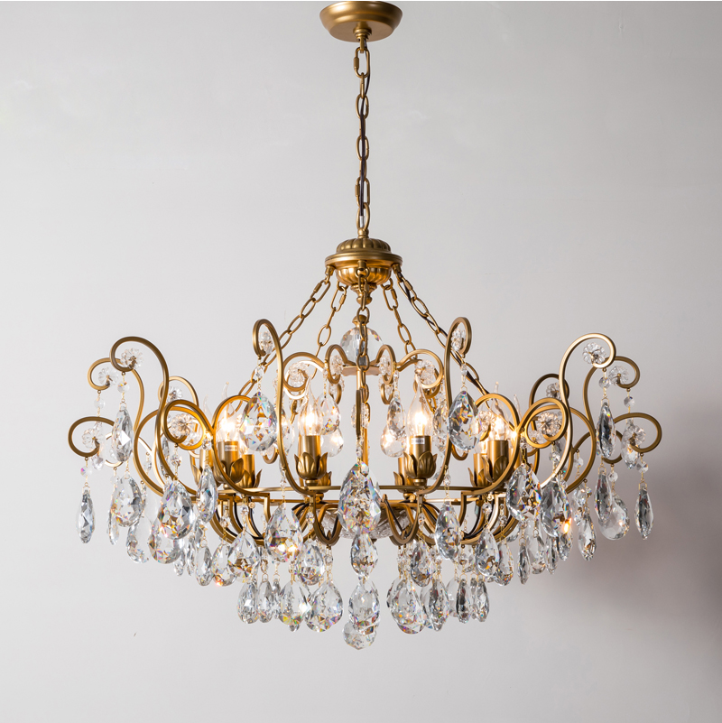 купить Phube Lighting American RH Crystal Chandeliers Retro Amber Crystal Chandelier Lustre Light Home Lighting Ceiling lamp недорого
