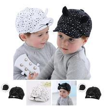 81f3b58cea05 Fashion Korean Kid Baseball Cap Cotton Cute Cat Hat Newborn Infant Caps  Soft Brim Boy Girl