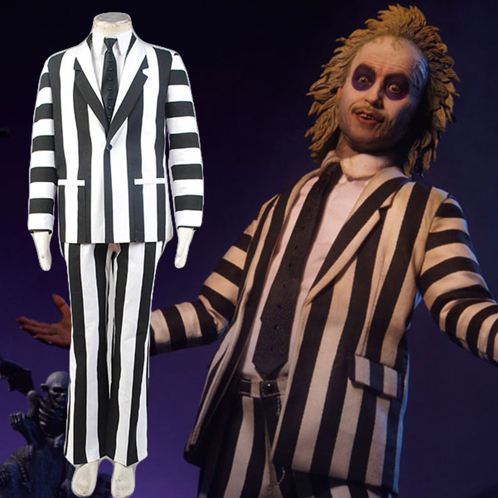 Cosplay Beetlejuice Fancy Suit Costume White&Black Full Sets Uniform Costume Coat Suit Halloween Carnival Cosplay