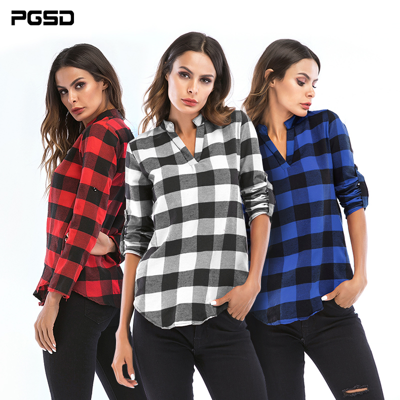 PGSD Autumn winter Repair body Women clothes Small V collar long sleeves Simple fashion lattice shirt female Big size 6XL