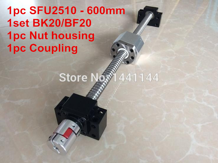 SFU2510- 600mm ball screw with ball nut + BK20 / BF20 Support + 2510 Nut housing + 17*14mm CouplingSFU2510- 600mm ball screw with ball nut + BK20 / BF20 Support + 2510 Nut housing + 17*14mm Coupling