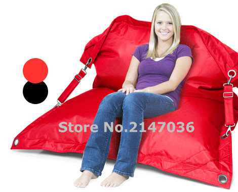 Outdoor bean bag with belts on both sides waterproof beanbag furniture seat dirt resistant lounger