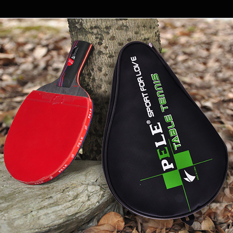 One Piece NEW Beginner Carbon Fiber Table Tennis Bat Racket Long Short Handle Ping Pong Paddle Racket Pimples With Carry Bag