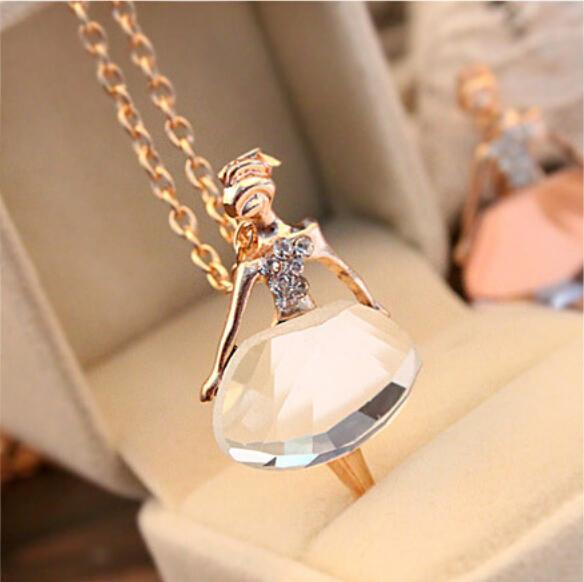 New Ladies Girls Fashion Ballet Girl Pendant Chic Choker Crystal Chain Necklace Lovely Jewelry Party