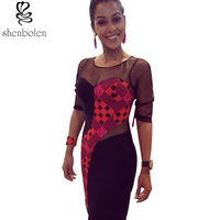 2016 African Dresses For Women Ankara Knitting Stitching Batik Printing Sexy Lace Long Sleeve Knee Length
