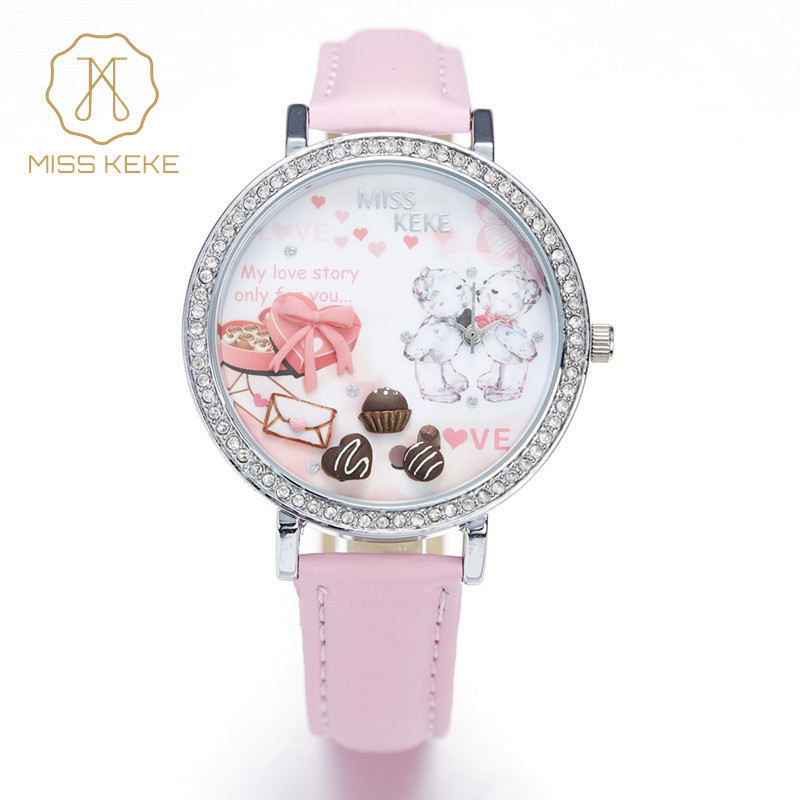 Relojes Mujer Fröcken Keke 3d Clay Gulliga Mini World Rhinestone Klockor Ladies Girl Lovely Pink Bear Quartz Läder Armbandsur 905