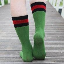 470d8c701763 High Street Calf Stripe Warm Soft luxury Cotton Socks Women Vintage Long  Tube Green red White