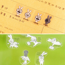 6sheets/set Creative transparent PVC kawaii stickers cute rabbit photo album decorative child DIY toy