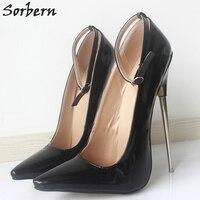 Sorbern 18 cm/7 ''Mulheres Bombas Plus Size Saltos Das Senhoras Do Partido do Metal sapatos Pump Gays Unissex Mulheres Sapatos de Dança Bombas Real Imagem alta