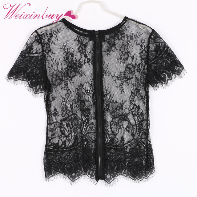 Sexy Lace Look Through See Net Yarn Women Blusas Femininas Short Sleeve Back Zipper O Neck Vintage Blouse Crop Top 2018 Summer