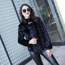 Natural mink fur jacket women crystal stone short real