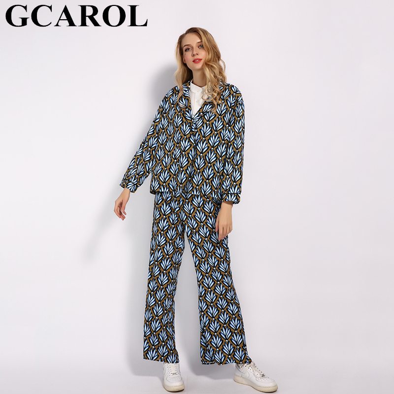 GCAROL 2019 Prairie Chic Tropical Floral Women'sets 2 Pcs Blouse And Ankle Length Pants With Belt Summer Spring Oversize Outfits