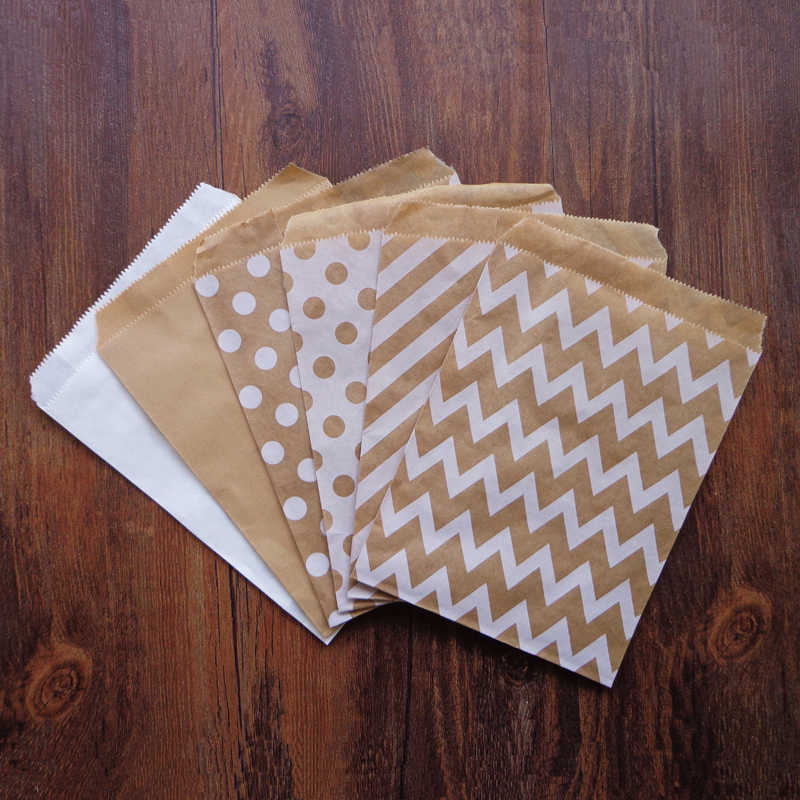 25pcs Kraft White Party Favor Paper Bags Chevron Striped Dots Paper Craft Bag for Wedding Favor Candy Gift Bags Party Supplies