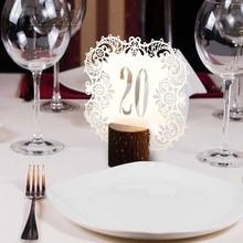 20pcs Lot Wedding Table Number Cards Laser Cut Ivory Gold Black Teal Blue Numbers