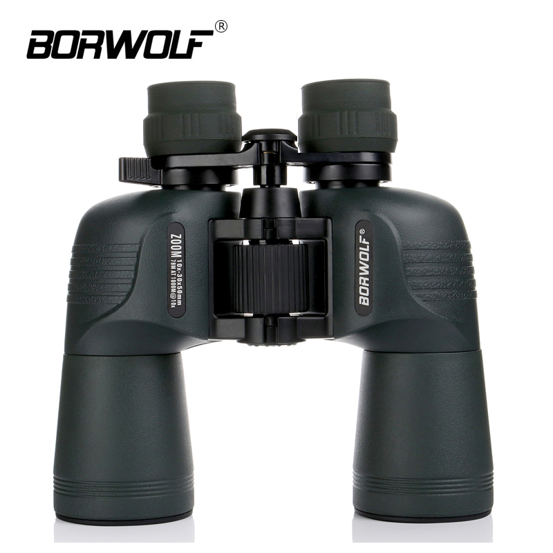 Borwolf 10-30X50 Binoculars Telescope HD Light Night Vision Bak4 Prism Professional Zoom Powerful For Hunting Bird Watching