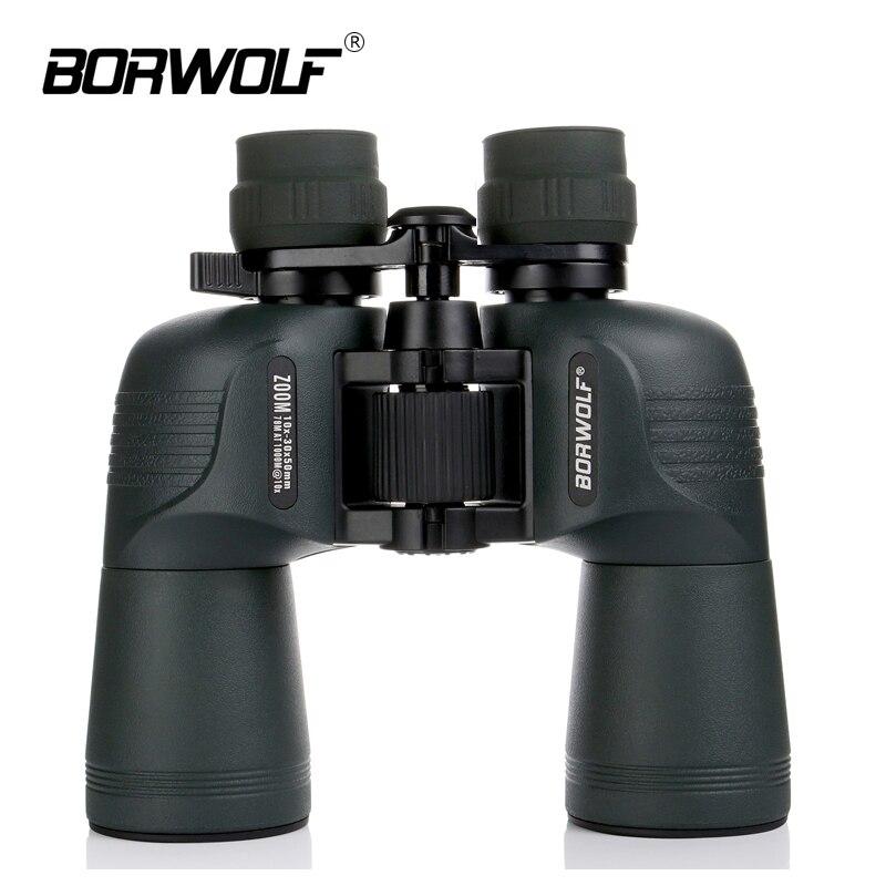Jumelles Borwolf 10-30X50 télescope HD Vision nocturne légère Bak4 prisme Zoom professionnel puissant pour l'observation des oiseaux de chasse