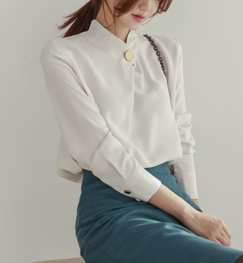 Round Neck Long Sleeve Office Blouse Shirt