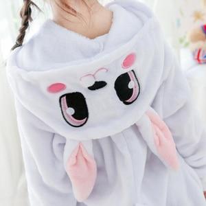 Image 4 - Combinaison Cosplay bleu enfant, Costume dhiver, motif lapin, Kigurumi, Anime, vêtements de nuit animaux, pyjamas, pour fille et garçon