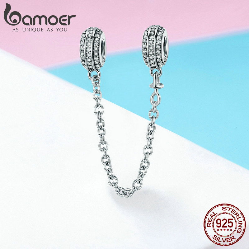 Image 5 - BAMOER New Collection 925 Sterling Silver Round Safety Chain Stopper Charm fit Women Bracelets DIY Jewelry Making Gift SCC812-in Charms from Jewelry & Accessories