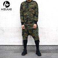 Lange mouwen kwaliteit mode mannen top t-stuk t-shirt t-shirt kanye camo camouflage hiphop swag skate merk-clothing tyga