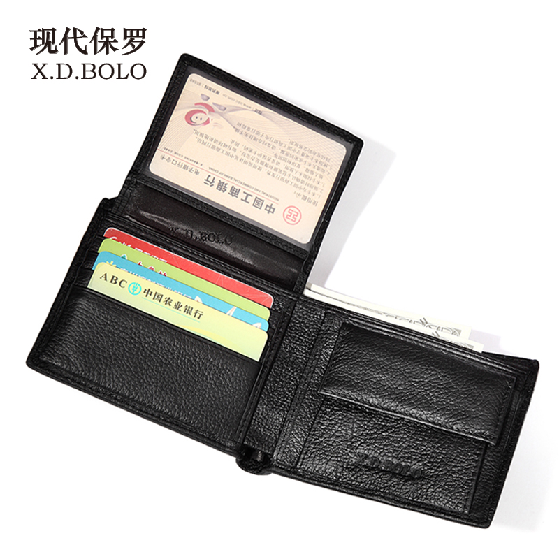 Wallet Men Purses Card-Holder Black Genuine-Leather New-Brand for Bifold with Gift-Box