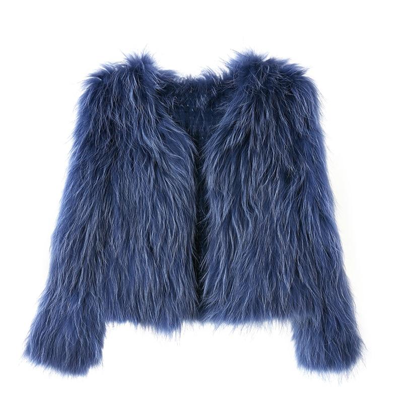 100% Suede High Quality Raccoon Dog Hair Knit Coat Fashion Short Fur Fur Coat Women