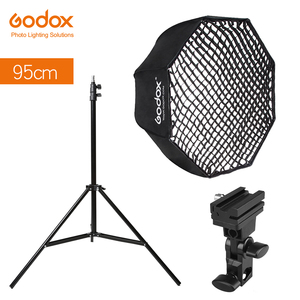 "Image 1 - Godox Portable 95cm 37.5"" Octagon Umbrella Softbox with Honeycomb Grid,Light Stand,Hot Shoe Holder Bracket for Flash Speedlight"