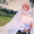 Rin Hoshizora Cosplay Love Live! School Idol Project White Satin Wedding Dress Uwowo Costume