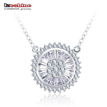 LZESHINE Luxury Sun Shaped Round Colar Necklace Pendant Cubic Zirconia White Gold Color Necklace Wedding Jewelry CNL0621-B