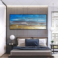 Handmade Oil Wall Art Canvas Painting, Modern Abstract Golden Yellow Posters Wall Art Pictures For Living Room Home Decor
