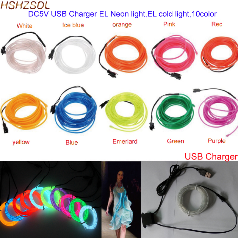 Aliexpress.com : Buy 5V USB charger 2 5m Scene lights 10 Colors EL ...